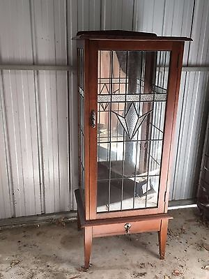 Antique lead light crystal cabinet