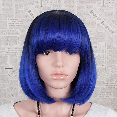 Synthetic Wigs Blue Short Straight Full Fashion Bob Style Ladies Womens Hairs UK