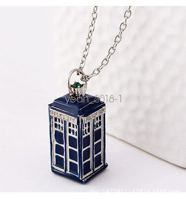 3D Doctor Who TARDIS Police Box Pewter Tall Long Chain Pendant Necklace Hot Gift
