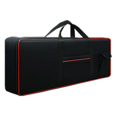 Portable Gig Bag For 61 Key Electric Keyboards Piano Organ Padded Black + Red