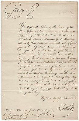 """George III., King – signed document by the last """"King of the United States"""""""