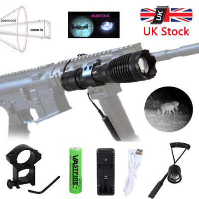 850nm IR Infrared Night Vision Zoomable LED Flashlight Hunting Torch Lamp 18650