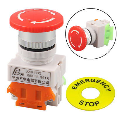 1NO 1NC DPST Emergency Stop Switch Push Button Mushroom Push Button Terminal