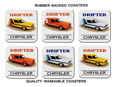 Valiant Chrysler  Cl Drifter  Panelvan   Set Of  6   Rubber Drink  Coasters