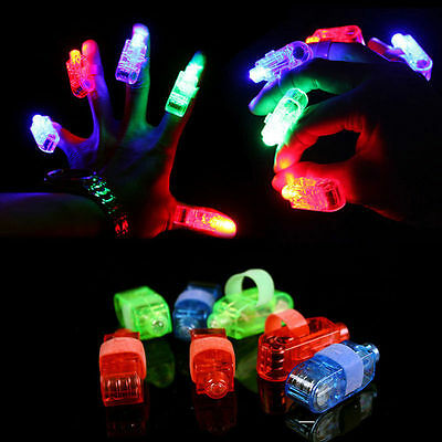 8,20,40,100 PCS LED Finger Light Up Lamp Ring Glow Party Night Club Beams Laser
