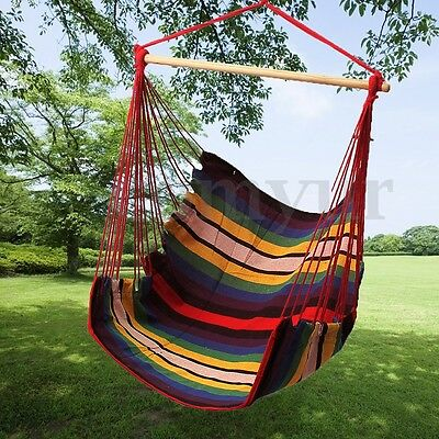 Garden Hanging Rope Swing Chair Seat Hammock Chair Porch Outdoor Patio Cushioned