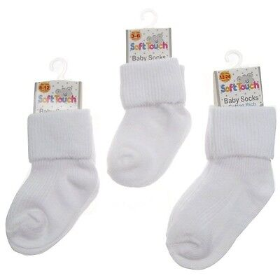 Baby girl/boy white ribbed turn down ankle socks 2 pairs 3-6 - 6 - 12 - 12 - 24