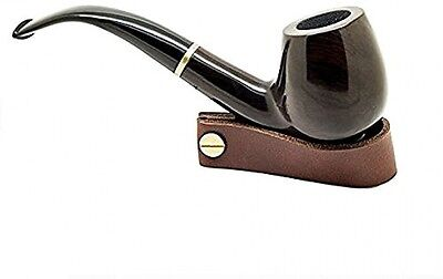 Joyoldelf Wooden Tobacco Smoking Pipe 'Maigret' Black, Smooth, Bent, Hand Made