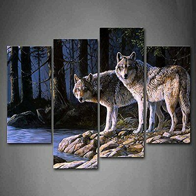 Wolf Wall Art Print Canvas Animal Painting Picture Wood Frame Home Decor Gift