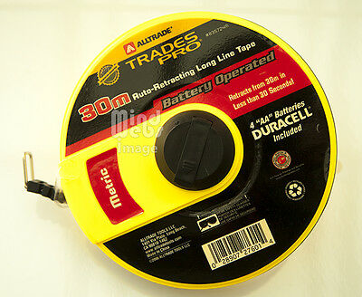 Alltrade Trades Pro Battery Operated 30 meter Steel Tape Measure with Handle