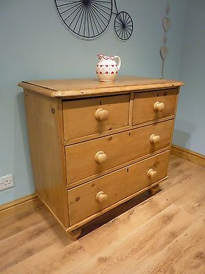 Beautiful Antique Vintage Solid Pine Victorian Chest of Drawers