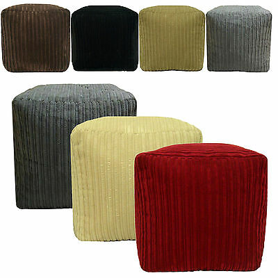 Chunky Cord Pouffe Footstool Cube Soft Foot Rest Stool Ottoman Beanbag filled