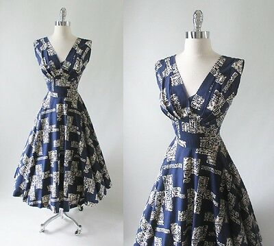Vintage 50's Blue White Surfriders Full Circle Skirt Hawaiian Party Dress M