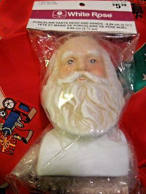 Porcelain Santa Head & Hands 3 1/2 In. Vtg Set 1980s White Rose Orig Pkg MINT