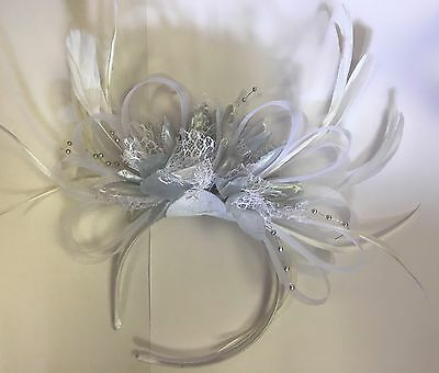 BESPOKE White and Silver Fascinator Headband UK Wedding Ascot Races