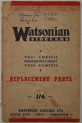 Watsonian Sidecars Replacement Parts List - 1952