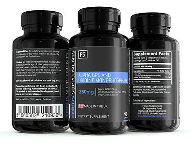 Alpha GPC + Uridine Monophosphate Combined (90 x 250mg Capsules) *IMPROVE FOCUS*