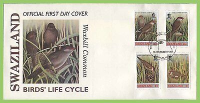 Swaziland 1993 Common Waxbill Birds set on First Day Cover