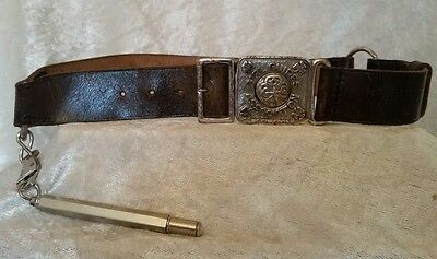 Vintage Early Girl Guides Leather Belt John Leckie Walsall + Pencil Attachment