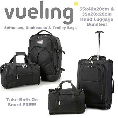 Vueling 55x40x20cm and Second Free Additonal 35x20x20cm Cabin Hand Luggage Bags