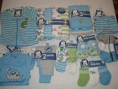 Gerber Baby Boys 28 Piece Gift Set NEW Size 0-3 Months Dino Baby Shower Bundle