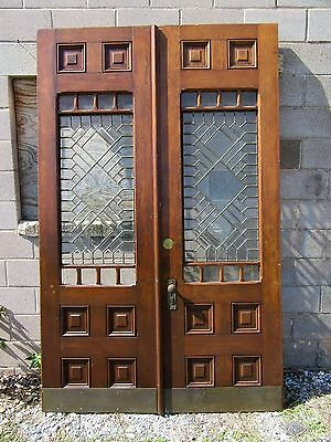 ~ Antique Double French Doors With Beveled Leaded Glass ~ 60 X 95 ~ Salvage