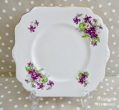 Vintage English Bone China Violet Pattern Sandwich Plate - Fab Condition