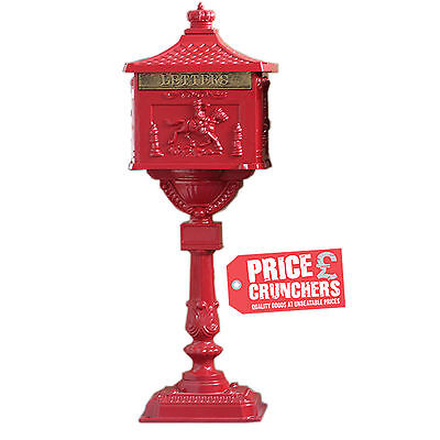 Antique Vintage Red Postbox Letterbox Mailbox Free Standing Garden Wedding Card