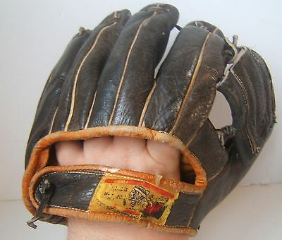 Vintage Distressed Indian Head Youth Baseball Glove All Star F 164 B Black Japan