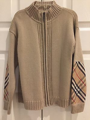 Burberry Boys 6 Years Sweater Cardigan Jacket Check Patches Beige Tan Zipper