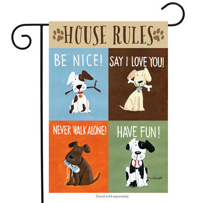 "House Rules Dog Garden Flag Humor Puppy Pet Manners Briarwood Lane 12.5"" x 18"""