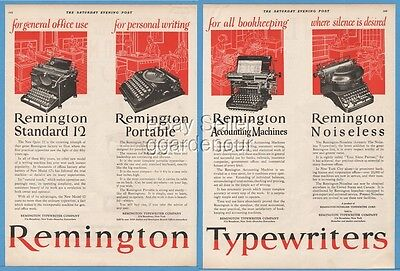 1924 Remington Standard 12 Noiseless Portable Typewriter Accounting Machine Ad