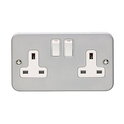 10 x Metal Clad Double 2 Gang Twin Electrical Switched Socket 13amp