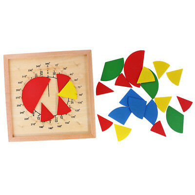 Montessori Mathematic Math Fraction Division Learning Child Teaching Aids Wooden