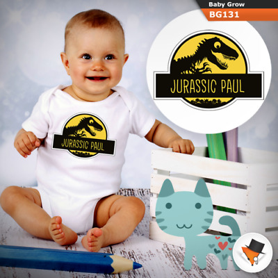 Personalised Jurassic Park Theme Babygrow Baby Grow All Sizes   New