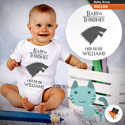 Personalised Game Of Thrones House Stark Babygrow Baby Grow All Sizes   New