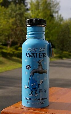 Mr. Tap 20oz Blue Stainless Steel Funny Tap Water Bottle 2009 by Accoutrements