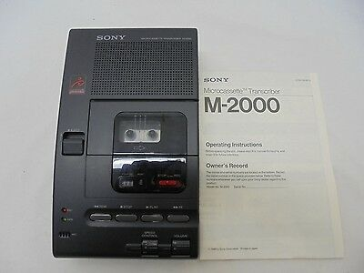 Sony M-2000 Microcassette Transcriber For Parts/repair & Manual