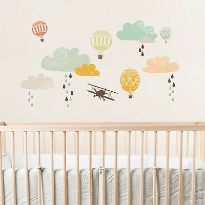Love Mae Fabric Nursery Wall Decals Up Up & Away Plane Hot Air Balloon- Worn Box