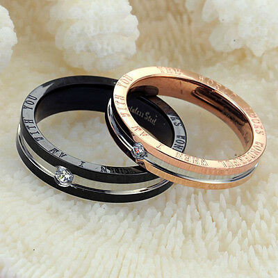 Black Rose Gold GP CZ Couples Stainless Steel Band Ring UK Size J L N Q S U Gift