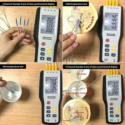 Digital 4 Channel Thermometer Temperature K Type Thermocouple Sensor