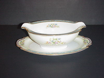 Rose China Occupied Japan Gravy Boat Attached Underplate RO3 Blue Border