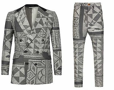 Vivienne Westwood Man Slim Fit Grey Mosaic Jacquard Wool Suit. Uk 38R - It 48R