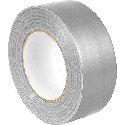 Silver Fabric Extra Sticky Tape 50m x 48mm Roll Fibre Duck Duct Waterproof Cloth
