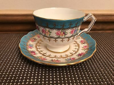 Aynsley England Pattern #2466 ~Turquoise / Gold / Pink Floral ~ Teacup & Saucer