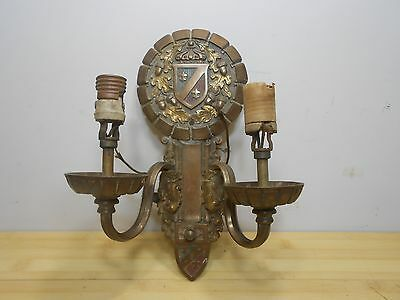 "Antique Bronze Acorns Leaves Crest Coat Of Arms Wall Sconce 11.25"" tall."