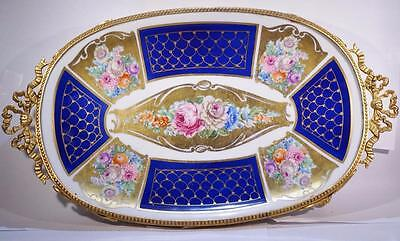 Vintage Blue Limoges Bronze Footed Tray