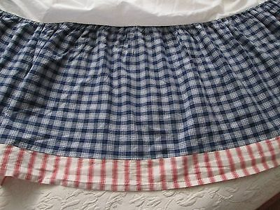 Kids Line Navy, White, Red, and Cream Plaid/Striped Gathered Cribskirt