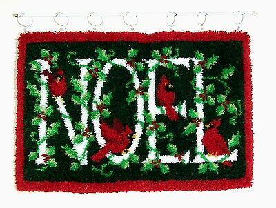 NOEL Christmas Handcrafted Latch Hook Wall Hanging Completed 25 X 36