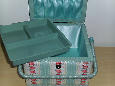 BNWT-Med/Lg-Square-Turquoise/White/Pink Floral Design Fabric Covered Sewing Box